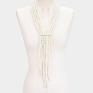 Jewelry - Pearl Long Fringe Bib Necklace  Earrings set
